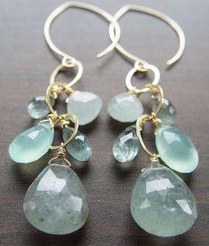 Moss Aquamarine Chain Earrings Gold by friedasophie