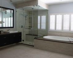 Steam shower or steam bath? Contemporary - bathroom design from LA - Noah Construction & Design Contemporary Shower Doors, Contemporary Bathroom Designs, Bathroom Shower Doors, Frameless Shower Doors, Master Bathroom, Bathroom Ideas, Bathroom Bench, Relaxing Bathroom