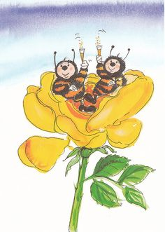 Virpi Pekkala, Finland Doll Eyes, Whimsical Art, Vintage Postcards, Finland, Watercolor Art, Insects, Scandinavian, June, Roses