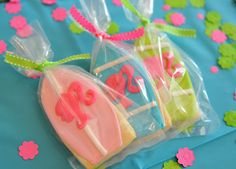 This party theme is perfect!  Beach+barbie=happiness.  Twin's Malibu Barbie 3rd Birthday (Cookie Favors by The Cookie Jar)