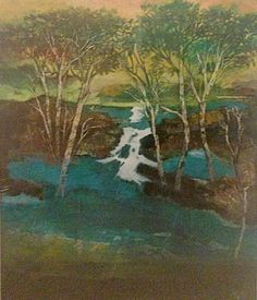 """Thomas Yeo: Turquoise Lake, Gouache on rice paper, 60 x 45cm. Represented by Ode To Art. Thomas Yeo is a prominent Singapore second-generation artist. Educated at the Nanyang Academy of Fine Arts,Chelsea School of Art (now Chelsea College of Art and Design) and Hammersmith College of Art and Building,his modern works have been described as """"highly imaginative landscapes of the unconscious mind""""."""