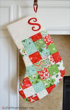 from Pixels to Patchwork: TGIFF: Quilted Christmas Stockings