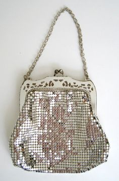 L♥VE! 1940s Silver Mesh Metal Purse by Whiting & by CutandChicVintage