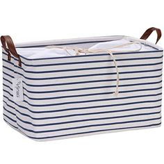 Hinwo 31L Large Capacity Storage Basket Canvas Fabric Storage Bin Collapsible Storage Box with PU Leather Handles and Drawstring Closure, 17.7 by 11.8 inches, Waterproof Inner Layer, Navy Stripe