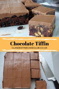 Chocolate Tiffin is a no bake confection consisting of crushed biscuits, sugar, syrup, dried fruits, and cocoa powder. It's often covered with a layer of melted chocolate. Chocolate Tiffin Recipe, Chocolate Desserts, Chocolate Traybake, Cake Chocolate, Tray Bake Recipes, Baking Recipes, Dessert Recipes, Food Cakes, Cupcake Cakes