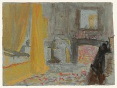 Joseph Mallord William Turner A Bedroom with a Fire Burning, and a Bed with Yellow Curtains 1827