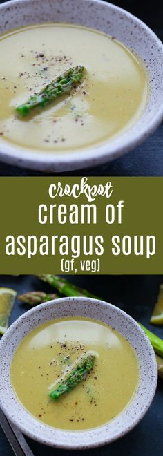 With only six ingredients needed, this crockpot cream of asparagus soup might be the easiest soup you'll ever make.#glutenfree #vegetarian