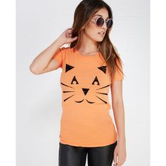 Jack-O-Lantern Cat V-Neck Tee ($10) ❤ liked on Polyvore featuring tops, t-shirts, orange, red t shirt, orange t shirt, cotton t shirt, cat graphic tees and short sleeve tee