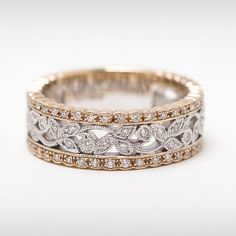 vintage style diamond anniversary band yellow gold | White Gold Floral Eternity Ring 18ct Yellow Gold & Diamonds - Modern