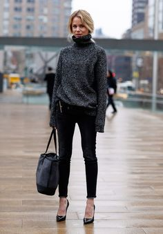 Sexy outfit without showing too much...loose turtleneck sweater + skinny ponte pants.