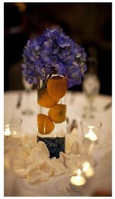 yellow and blue wedding...awesome idea for a center piece sis! And super cheap!