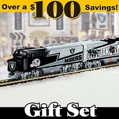 Shop The Bradford Exchange Online for Oakland Raiders Express Train Set. Raiders fans, this is your chance to get on the fast track with your beloved team! Presenting an Oakland Raiders train set from Hawthorne Village. Nfl Oakland Raiders, Raiders Fans, Watch Football, Nfl Football, Raiders Gifts, Electric Train Sets, Classic Toys, Model Trains, Layouts