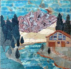 $496 Mountain Cottage Near River Natural Scene Landscape Marble Mosaic Tile Artwork Design for Home Deco - MP088