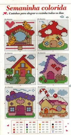 Houses Free Cross Stitch Pattern Chart by Angela Anderson-DePew