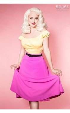 Pinup Girl Clothing - Clever Girl Skirt in Fuchsia | Pinup Girl Clothing