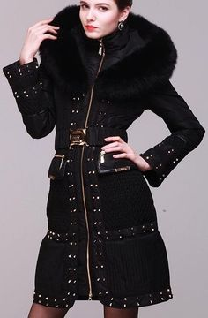 Fox-Fur Hooded Embellished Puffer Down Coat in Black