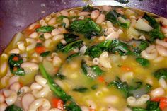 Tuscan White Bean Soup from Food.com: Delicious chicken broth soup made with cannellini beans, small pasta and escarole. This is super good!