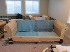 DIY Strip Fabric From a Couch and Reupholster It |do it yourself divas