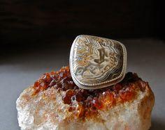 Rare Hell's Canyon Herringbone Petrified Wood Ring by betsybensen, $245.00