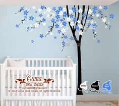 cherry blossom wall decal tree wall decals flower vinyl by cuma, $88.00