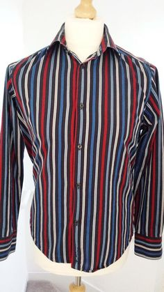 Ben Sherman Shirt Mens Size M Blue Red Grey Labeled M