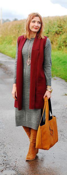 Winter layers: Burgundy sleeveless coatigan grey midi sweater dress tan over the knee (OTK) boots ochre slouch hobo bag rose gold heart pendant | Not Dressed As Lamb, over 40 style blog