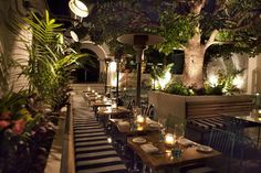 Outdoor restaurant seating area - benches and chairs