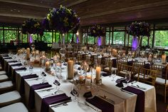 Etter-Harbin Alumni Center in Austin, Texas | Tx wedding venue, ceremony and reception site | Romantic Candlelight with stunning tall centerpieces.