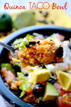 Healthy, delicious Quinoa Taco Bowls combine the flavors of taco salad with the ., delicious Quinoa Taco Bowls combine the flavors of taco salad with the added benefits of quinoa for a main dish that everyone is sure to love. Think Food, I Love Food, Food For Thought, Healthy Cooking, Healthy Eating, Cooking Recipes, Mexican Food Recipes, Vegetarian Recipes, Healthy Recipes