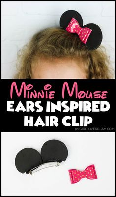 Simple Minnie Mouse hair clip tutorial that takes only a few minutes to make! Easy to make and perfect gift for any Disney fan to wear Minnie Mouse ears! Informations About Minnie Mouse Hair Clip and Diy Disney Ears, Disney Bows, Mickey Mouse Ears, Minnie Mouse Hair Bow, Mini Mouse Ears Diy, Minnie Mouse Cricut Ideas, Ear Hair, Minnie Birthday, Diy Hair Bows