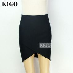 KIGO Black Cross Front Striped Bodycon Skirt High Waist Mini Wrap Skirt Sexy Casual Irregular Pencil Skirt
