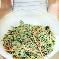 Day 2 #rawveganchallenge zucchini noodles with hemp seed Alfredo sauce. Got the idea from @blissfulbasil . @iam_olive99 came over for dinner so we made a nice big bowl of it! Don't forget to use the #livandleegoraw . ------------------------------ ------------------------------ Hemp seed Alfredo sauce  1/4 hemp seed powder  1 cup coconut milk 1 cup soaked cashew Juice 1 lemon 1/2 tsp salt 1/2 tsp pepper 3 cloves garlic 1/2 tsp curry powder  1/2 tsp turmeric  1/2 tsp nutmeg…