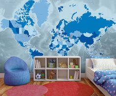 Cool Blue World Map Wallpaper is a slick design with icy cool tones. Brilliant choice for a feature wall and an easy way to enhance your interior design. New World Map, World Map Mural, World Map Wallpaper, World Map Design, Map Globe, Blue Colour Palette, Showcase Design, Designer Wallpaper, Globes