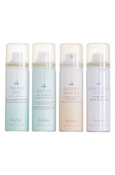 'The Four Pack' Set (Limited Edition) ($52 Value). Get all of your drybar essentials in this adorable pack! great gift for a girlfriend, and a travel essential!
