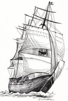 black and white ship sketches Pirate Ship Drawing, Boat Drawing, Drawing Drawing, Boat Sketch, Ship Sketch, Pencil Art Drawings, Art Drawings Sketches, Old Sailing Ships, Boat Painting