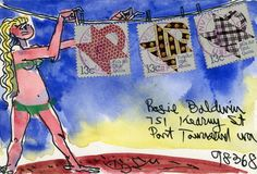 ♥ Envelope art featuring quilt block postage stamps. Another example of the stamps being essential for the art. ♥ Snail mail art at its best.
