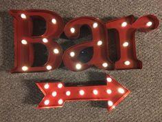 Lighted-3D-METAL-SIGN-Bar-With-Directional-Arrow-man-cave-Bar-industrial