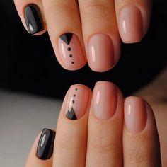 Минималистичный nail-дизайн в чёрно-бежевых тонах! 3