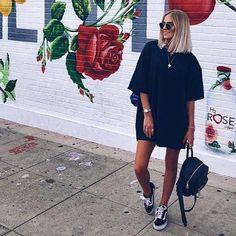 Robe tshirt and Vans old school. Biker Shorts Outfit Robe school tshirt VANS - Robe tshirt and Vans old school. Biker Shorts Outfit Robe school tshirt VANS Source by reginashamblin - Vans Outfit, Vans Old Skool Outfit, Outfit Jeans, Mode Outfits, Dress Outfits, Fashion Outfits, Womens Fashion, Black Tshirt Dress Outfit, Oversized Shirt Outfit