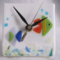 4 x 4 Fused Glass Table Clock