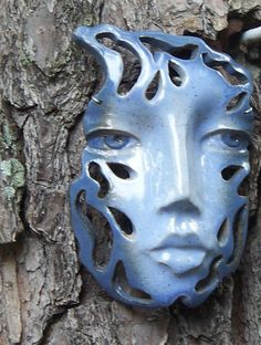Blue Raindrop Face/ Wall Art Hanging Ceramic Mask With Cut Out Design