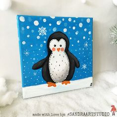 New to SandraArtStudio on Etsy: Penguin painting - Little Christmas painting - Cute penguin painting - Acrylic painting on canvas 8 x 8 inch - Pretty Christmas decoration (35.00 EUR)