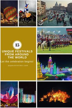 Carefully selected 15 best and unique festivals from around the world for a lifetime of experience and a glimpse of diverse cultures. Festivals Around The World, Travel Around The World, Around The Worlds, Family Adventure, Adventure Travel, Travel Humor, Funny Travel, World Festival, Air Balloon Rides
