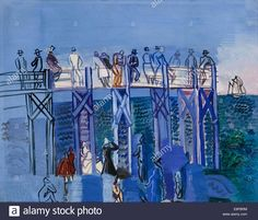 The Pier and the Beach at Le Havre. Artist: Dufy, Raoul (1877-1953) Stock Photo