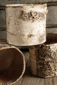 """Birch Bark Covered Planters Pot w/Liner > """"Plant"""" Christmas decks in these Succulent Centerpieces, Wedding Centerpieces, Birch Centerpieces, Wedding Decorations, Banquet Decorations, Centerpiece Ideas, Birch Bark Crafts, Wood Crafts, Save On Crafts"""