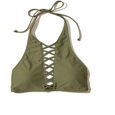 Hollister Strappy Halter High-Neck Bikini Top ($30) ❤ liked on Polyvore featuring swimwear, bikinis, bikini tops, swimsuits, olive, swimsuits bikinis, strappy halter bikini, high neck swim top, halter top swimsuit and halter swimsuit