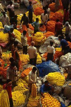 INDIA - Kalkutta, flower market