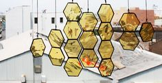 Stained Glass Honeycomb Drops (set of 10). $90.00, via Etsy.
