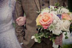 A Brass Band, Polka Dot Veil and 1950s Vintage Wedding Dress