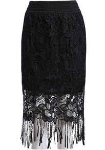 Tassel Lace Black Skirt